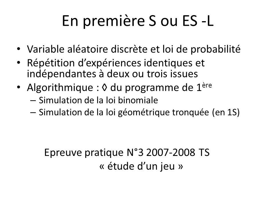 En première S ou ES -L Variable aléatoire discrète et loi de probabilité.
