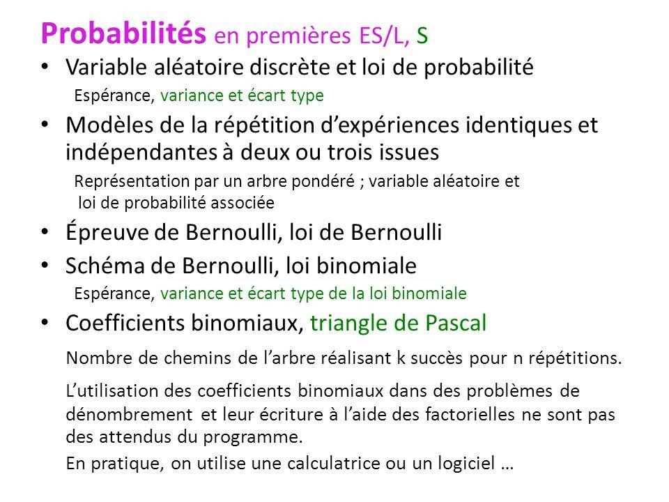 Probabilités en premières ES/L, S