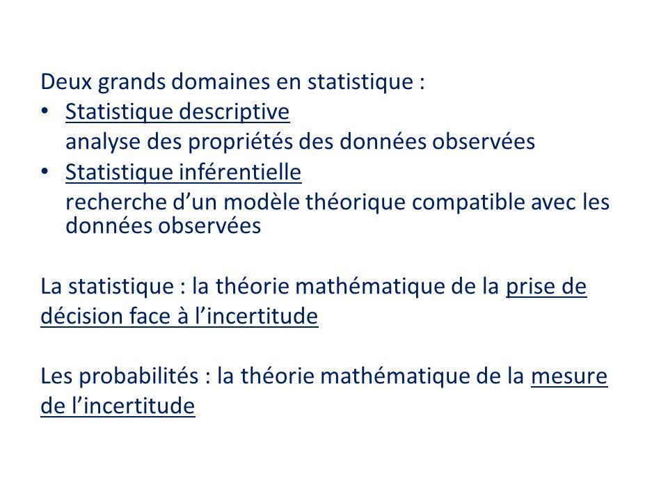 Deux grands domaines en statistique :