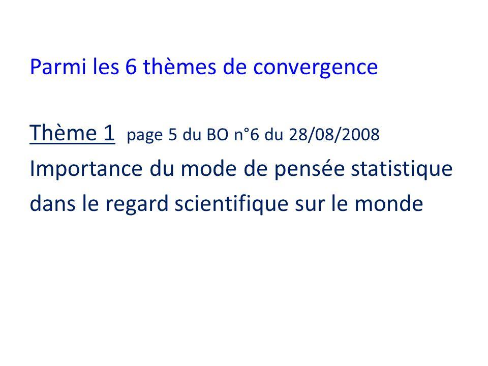 Parmi les 6 thèmes de convergence Thème 1 page 5 du BO n°6 du 28/08/2008 Importance du mode de pensée statistique dans le regard scientifique sur le monde