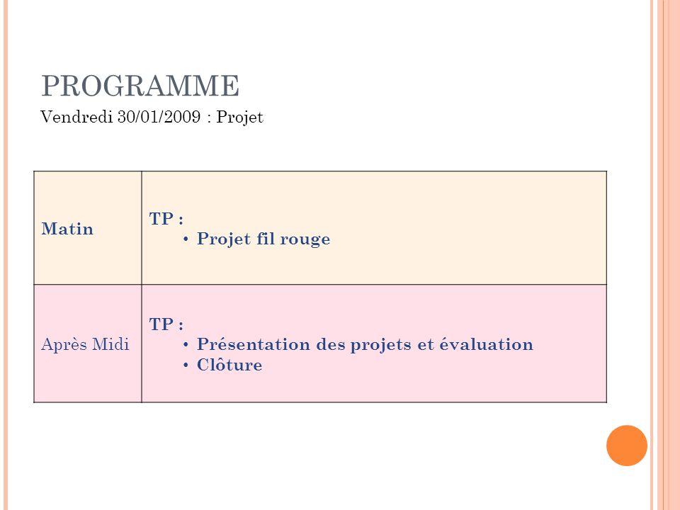 PROGRAMME Vendredi 30/01/2009 : Projet Matin TP : Projet fil rouge