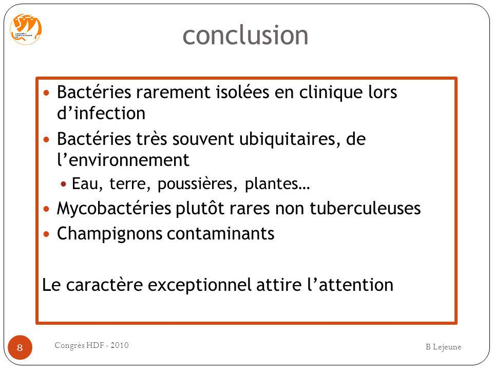 conclusion Bactéries rarement isolées en clinique lors d'infection