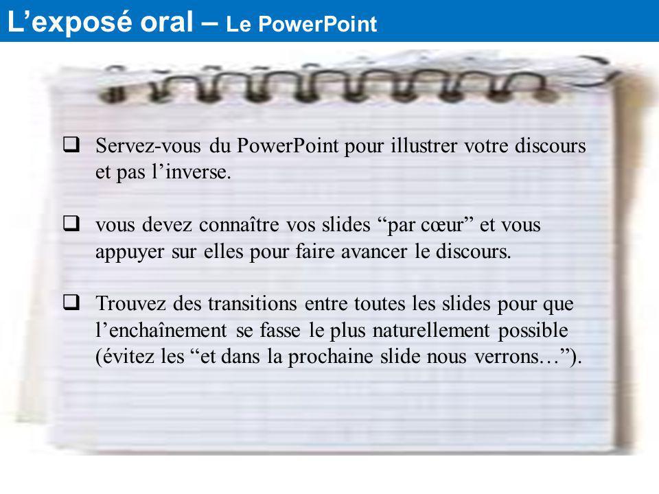 L'exposé oral – Le PowerPoint