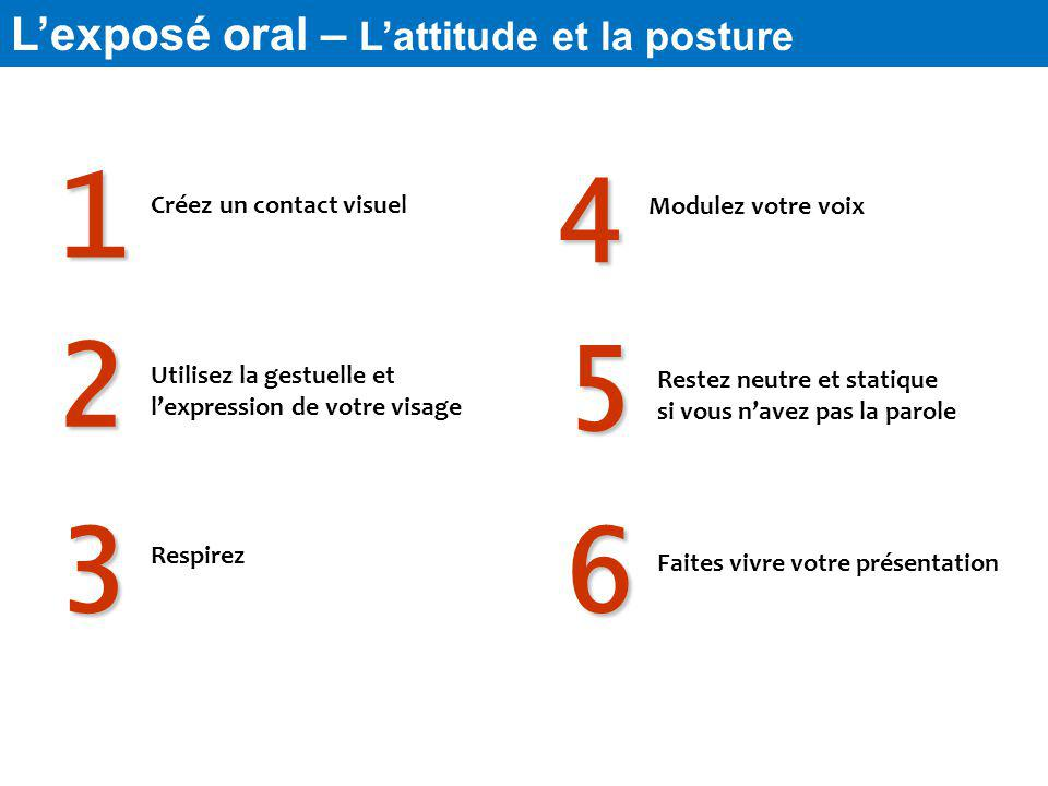 1 4 2 5 3 6 L'exposé oral – L'attitude et la posture