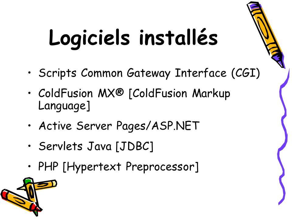 Logiciels installés Scripts Common Gateway Interface (CGI)