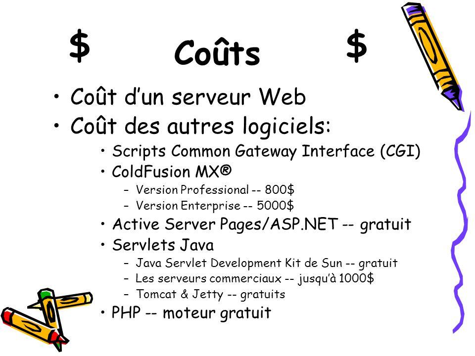 $ $ Coûts Coût d'un serveur Web Coût des autres logiciels: