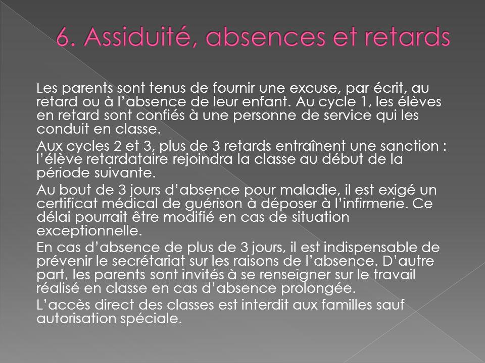 6. Assiduité, absences et retards