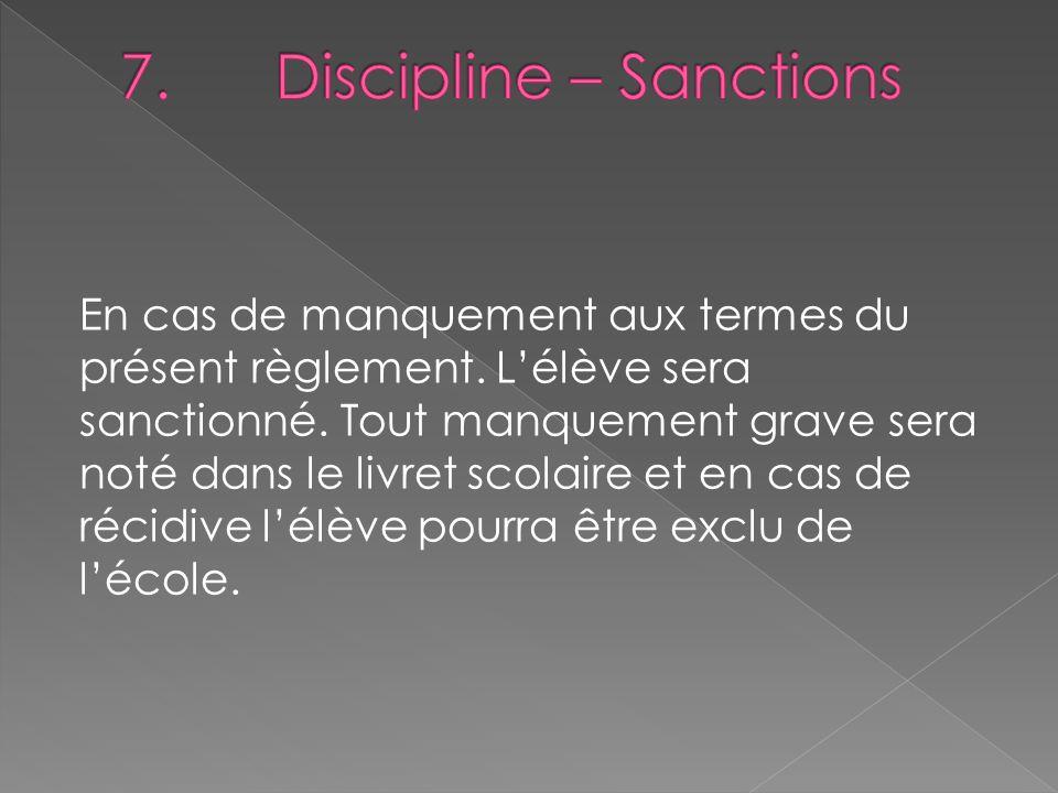 7. Discipline – Sanctions