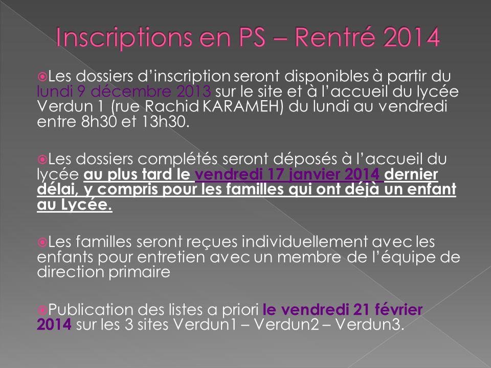 Inscriptions en PS – Rentré 2014