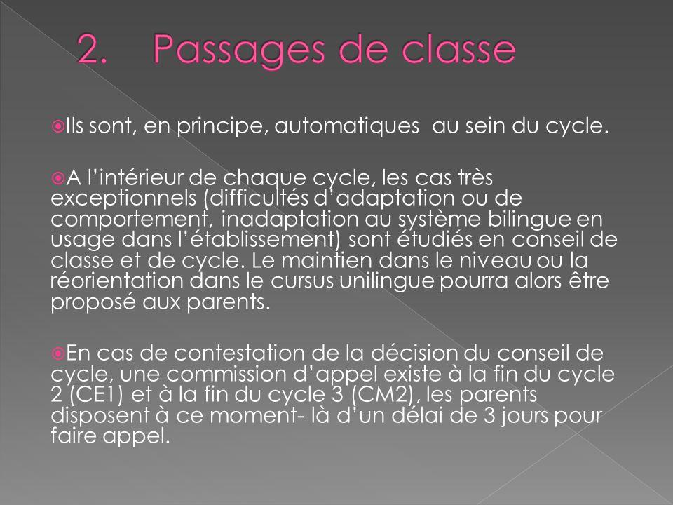 2. Passages de classe Ils sont, en principe, automatiques au sein du cycle.