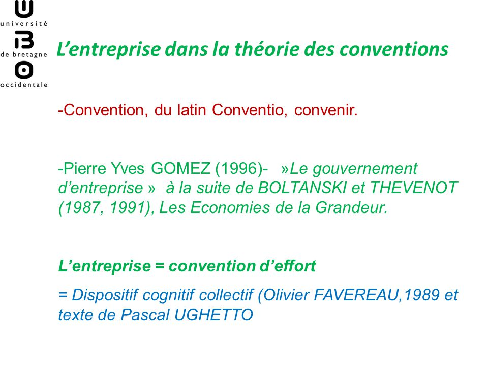 L'entreprise dans la théorie des conventions