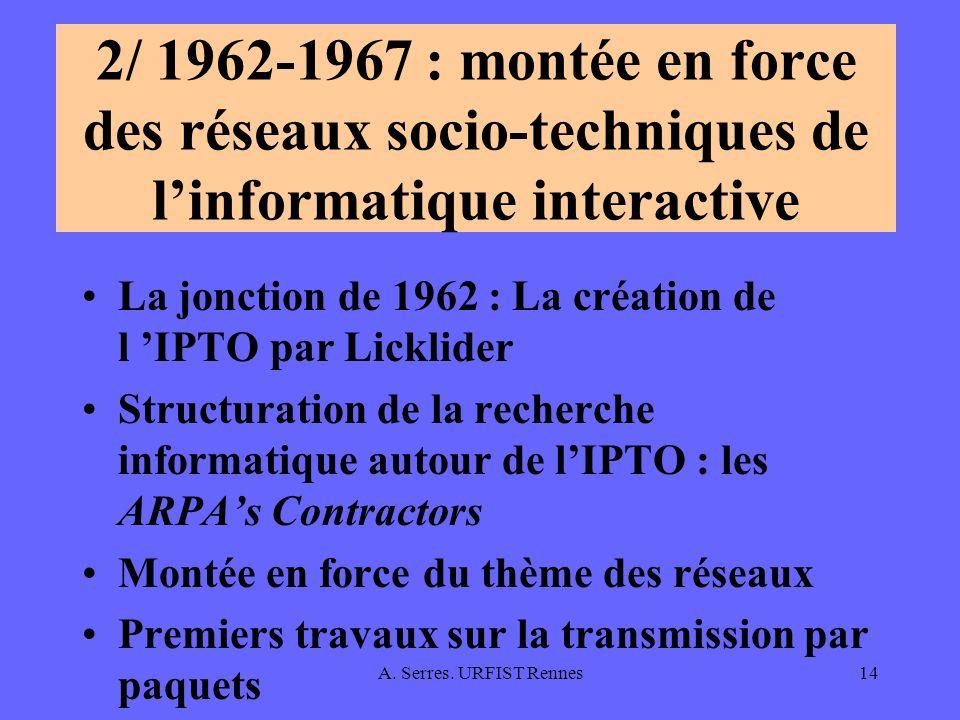 2/ 1962-1967 : montée en force des réseaux socio-techniques de l'informatique interactive