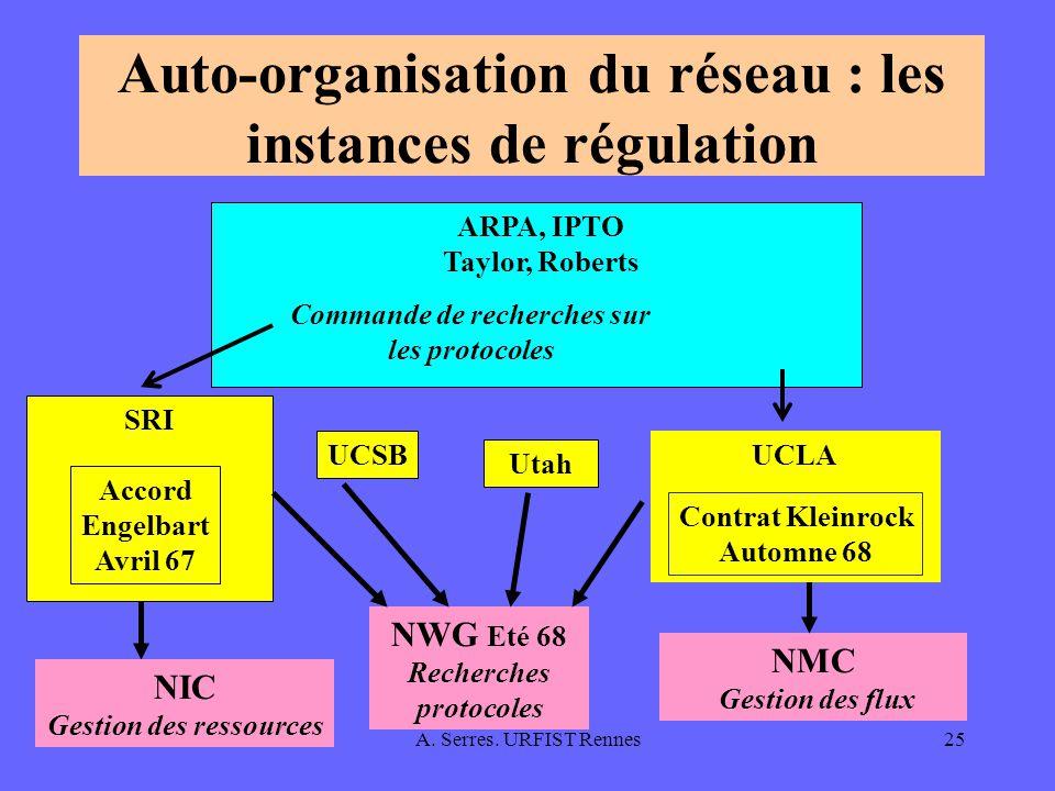 Auto-organisation du réseau : les instances de régulation