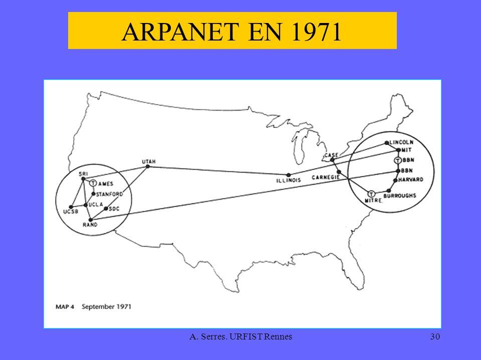 ARPANET EN 1971 A. Serres. URFIST Rennes