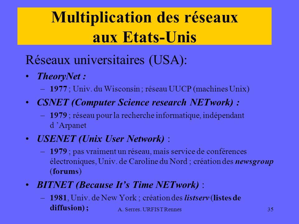 Multiplication des réseaux aux Etats-Unis