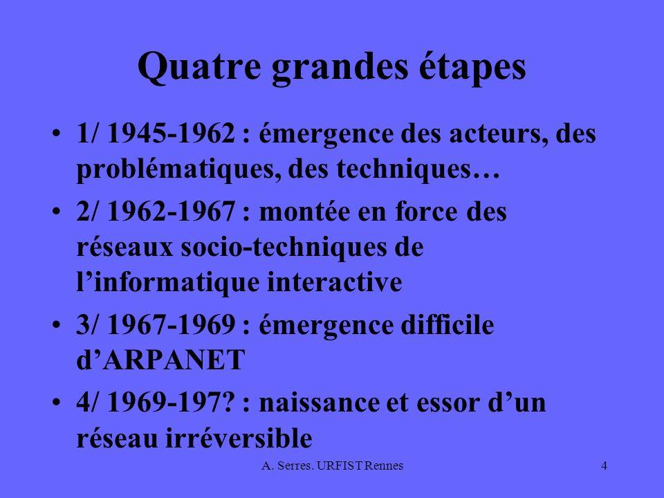 Quatre grandes étapes 1/ 1945-1962 : émergence des acteurs, des problématiques, des techniques…