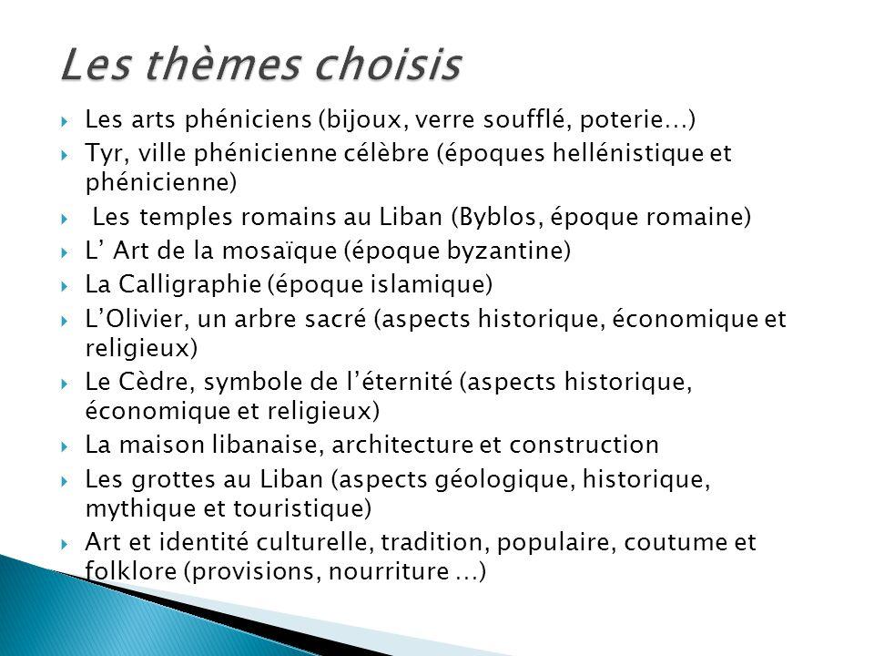 Les thèmes choisis Les arts phéniciens (bijoux, verre soufflé, poterie…) Tyr, ville phénicienne célèbre (époques hellénistique et phénicienne)