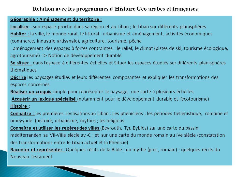 Relation avec les programmes d'Histoire Géo arabes et françaises