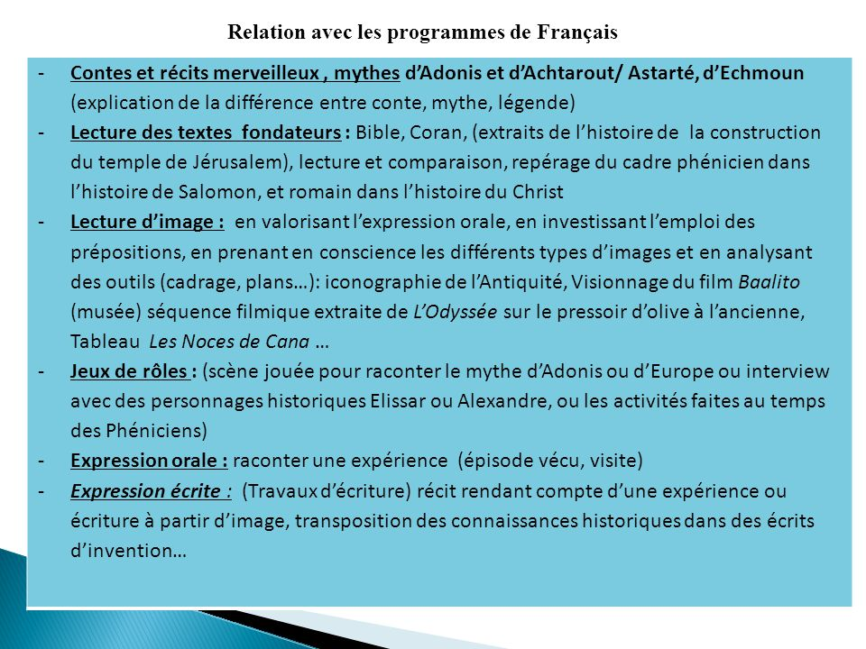 Relation avec les programmes de Français