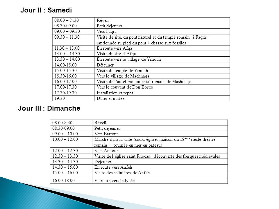 Jour II : Samedi Jour III : Dimanche Réveil 08.00 – 8 :30