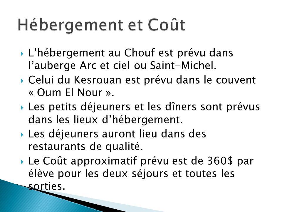 Hébergement et Coût L'hébergement au Chouf est prévu dans l'auberge Arc et ciel ou Saint-Michel.
