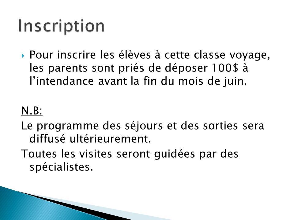 Inscription Pour inscrire les élèves à cette classe voyage, les parents sont priés de déposer 100$ à l'intendance avant la fin du mois de juin.