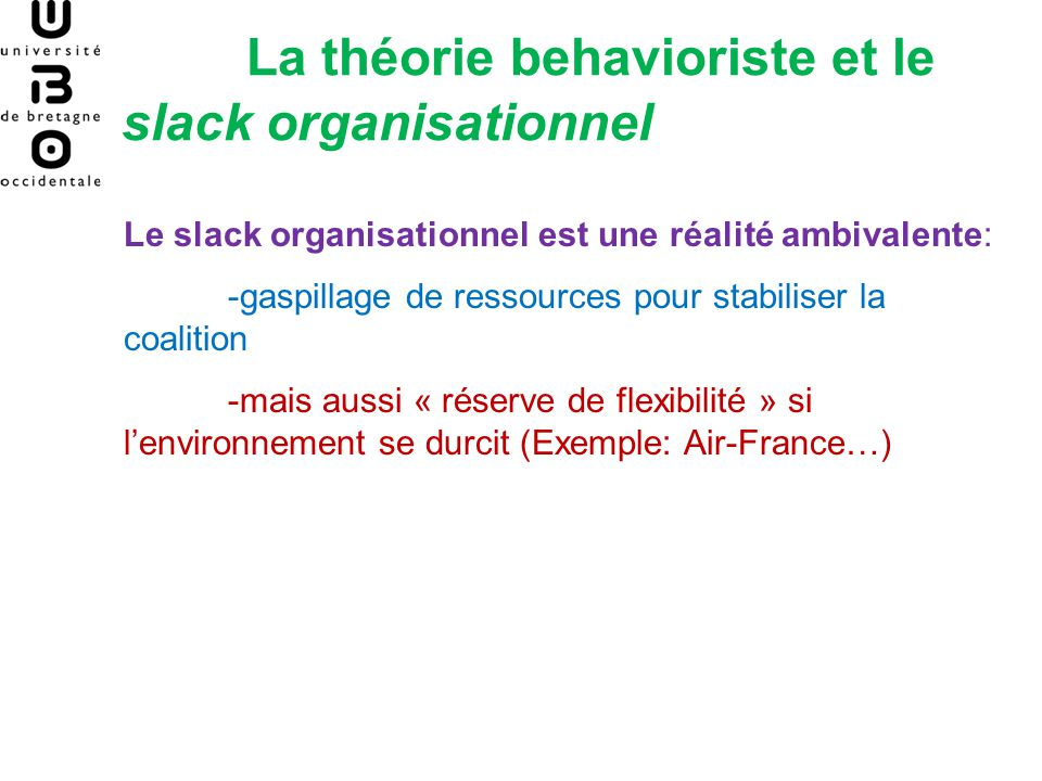La théorie behavioriste et le slack organisationnel