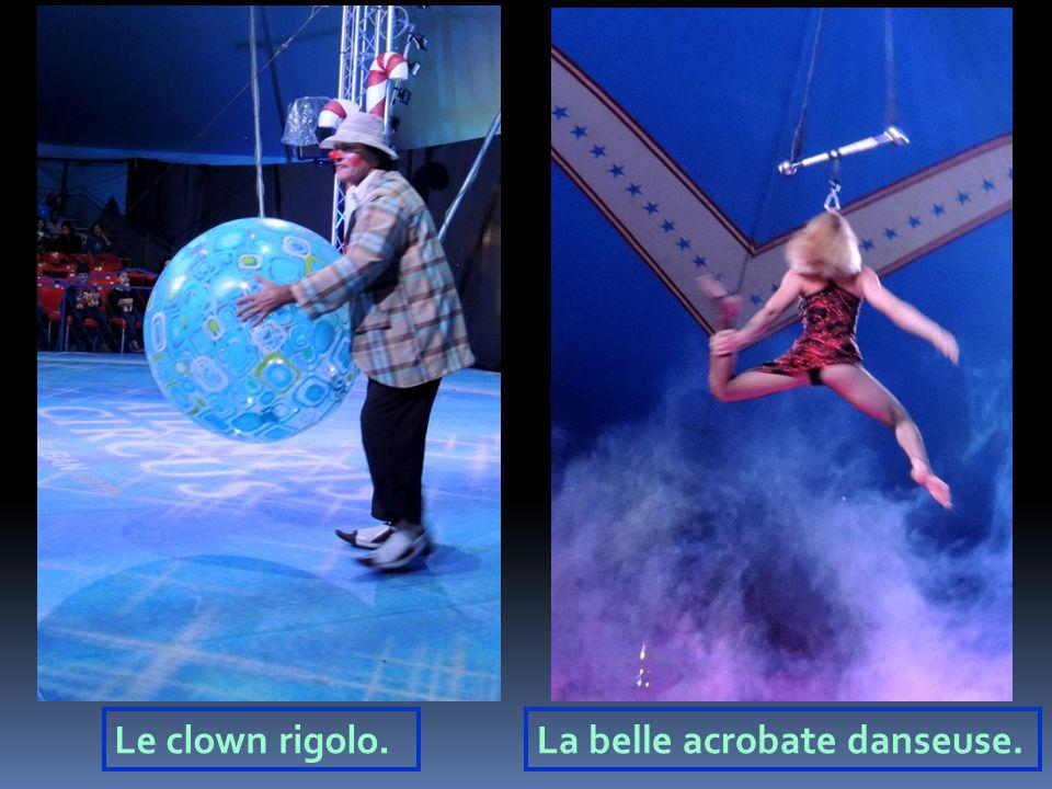 Le clown rigolo. La belle acrobate danseuse.