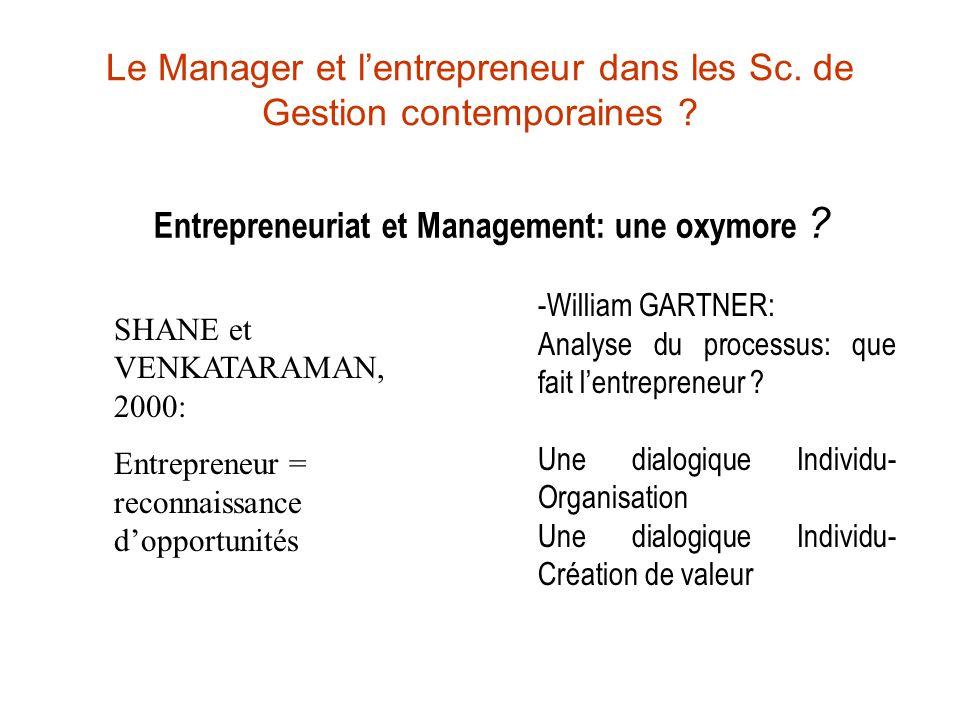 Le Manager et l'entrepreneur dans les Sc. de Gestion contemporaines