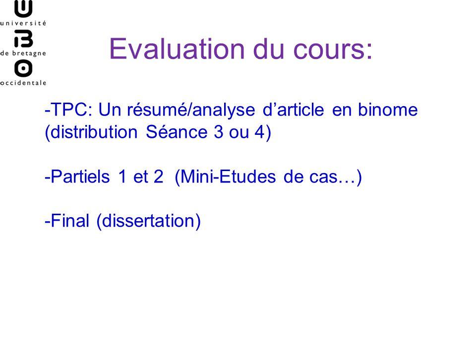 Evaluation du cours: -TPC: Un résumé/analyse d'article en binome (distribution Séance 3 ou 4) -Partiels 1 et 2 (Mini-Etudes de cas…)