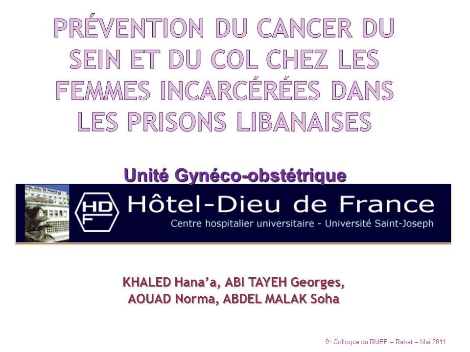 Prévention du cancer du sein et du col chez les femmes incarcérées dans les prisons libanaises