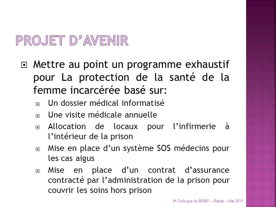 PROJET d'avenir Mettre au point un programme exhaustif pour La protection de la santé de la femme incarcérée basé sur: