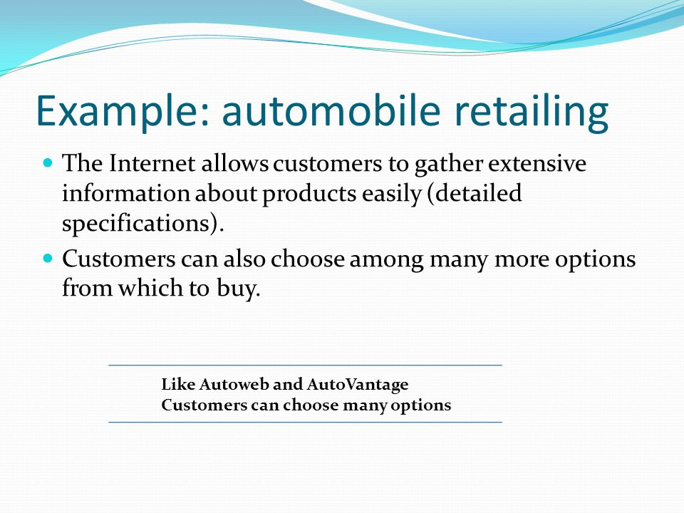 Example: automobile retailing