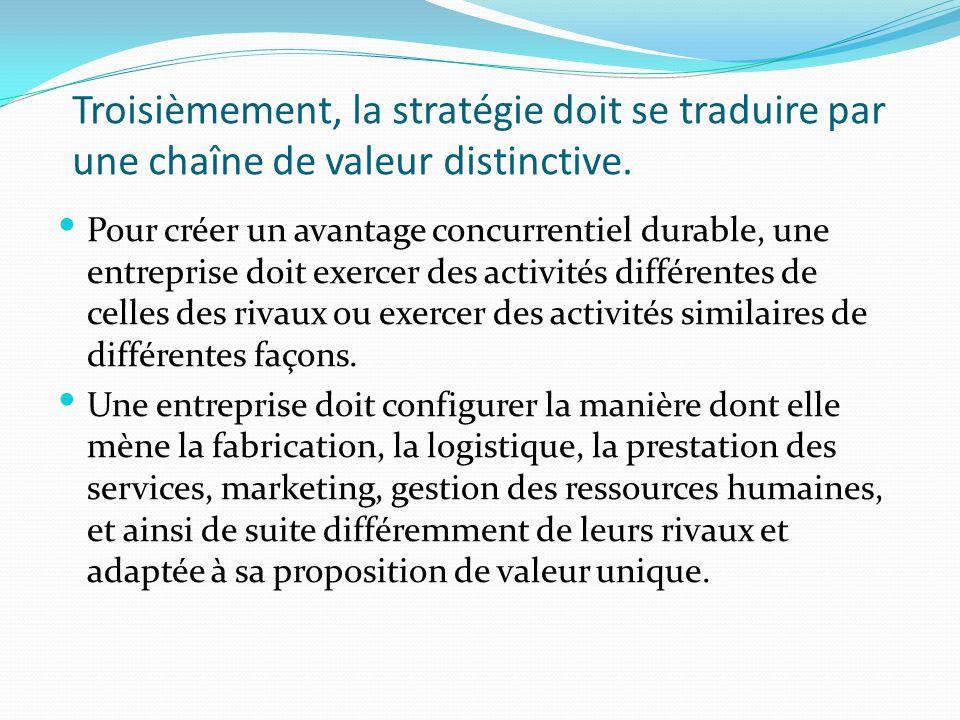 Troisièmement, la stratégie doit se traduire par une chaîne de valeur distinctive.