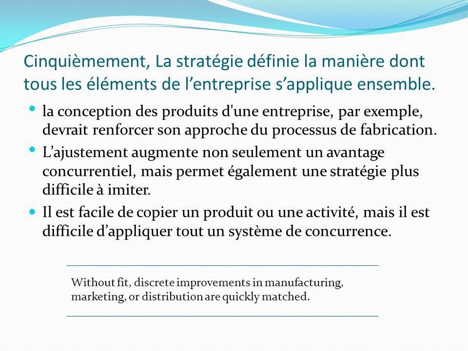 Cinquièmement, La stratégie définie la manière dont tous les éléments de l'entreprise s'applique ensemble.