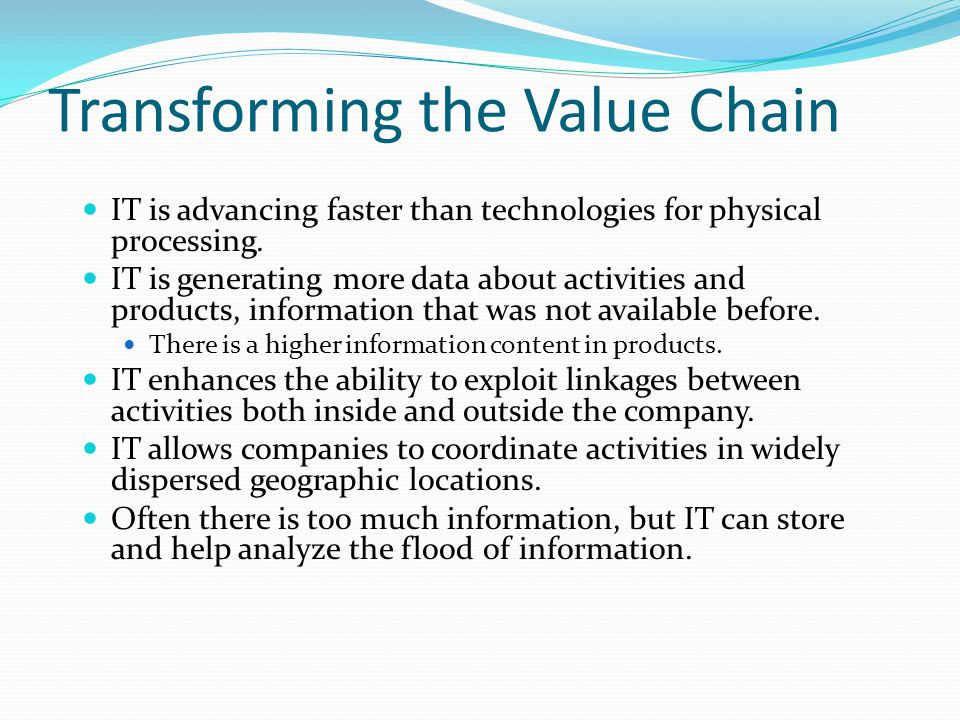 Transforming the Value Chain