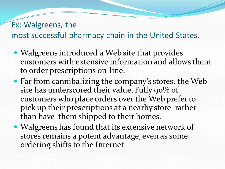 Ex: Walgreens, the most successful pharmacy chain in the United States.