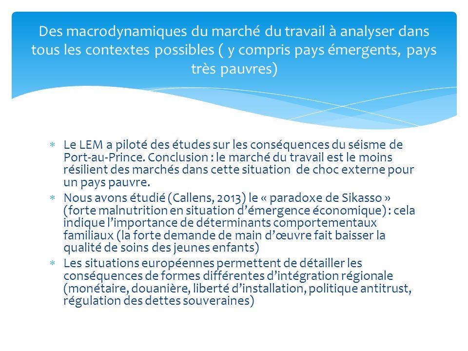 Des macrodynamiques du marché du travail à analyser dans tous les contextes possibles ( y compris pays émergents, pays très pauvres)
