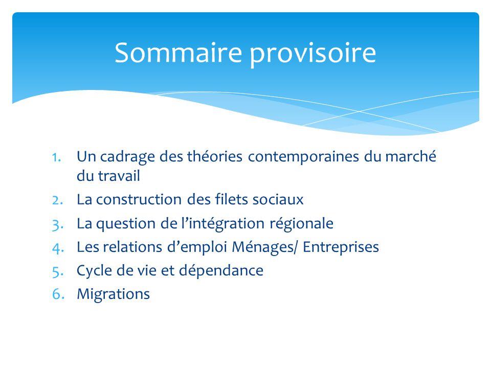 Sommaire provisoire Un cadrage des théories contemporaines du marché du travail. La construction des filets sociaux.