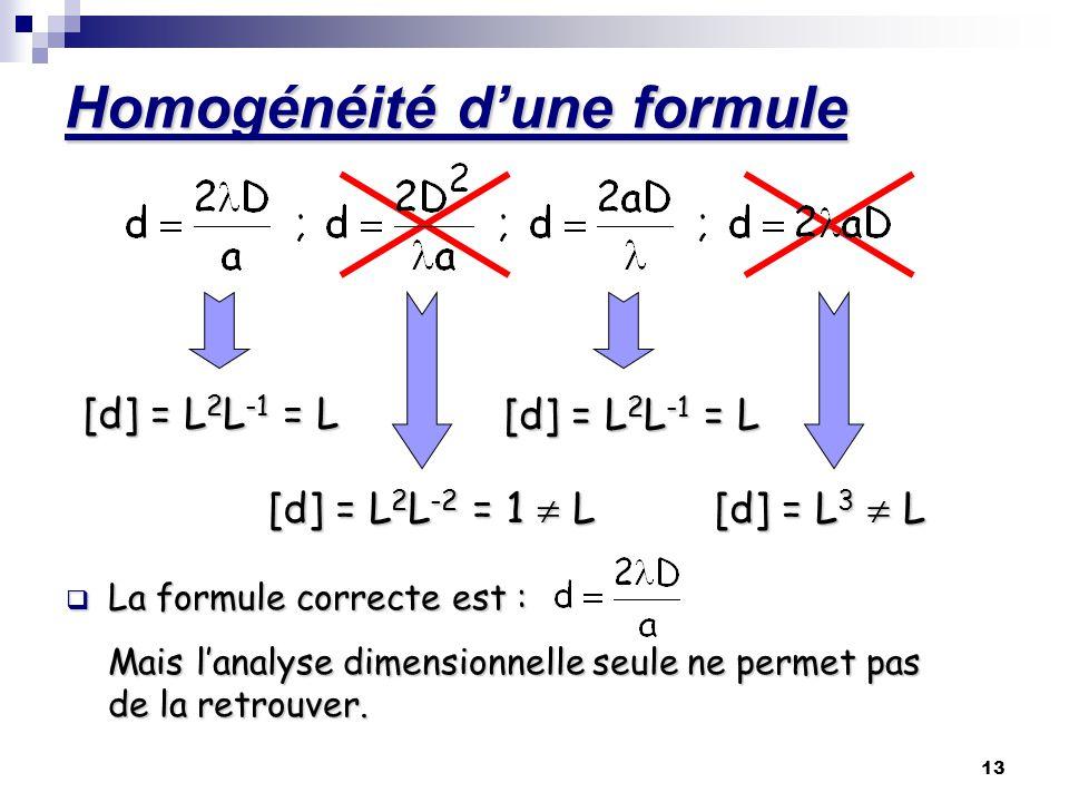 Homogénéité d'une formule