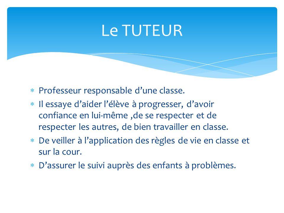 Le TUTEUR Professeur responsable d'une classe.