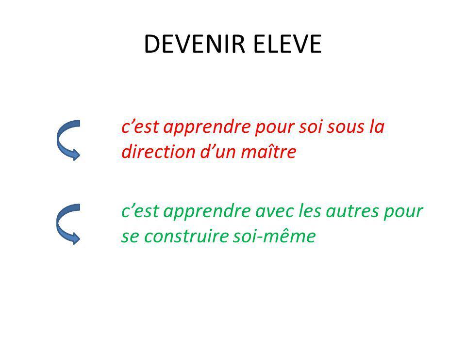 DEVENIR ELEVE c'est apprendre pour soi sous la direction d'un maître