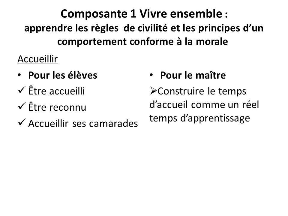 Composante 1 Vivre ensemble : apprendre les règles de civilité et les principes d'un comportement conforme à la morale
