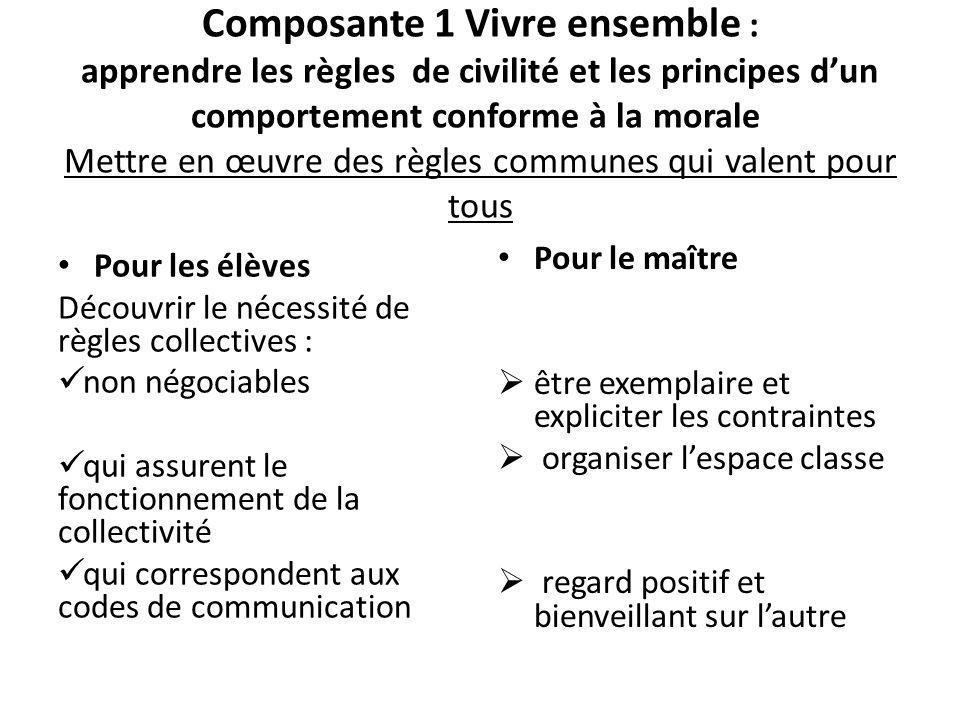 Composante 1 Vivre ensemble : apprendre les règles de civilité et les principes d'un comportement conforme à la morale Mettre en œuvre des règles communes qui valent pour tous
