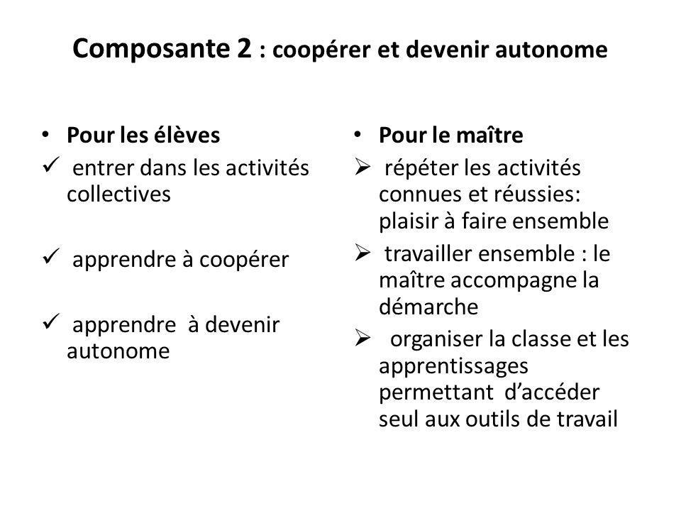 Composante 2 : coopérer et devenir autonome