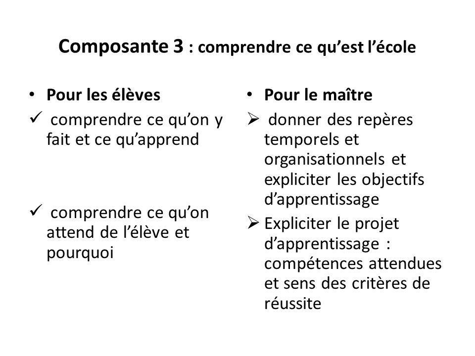 Composante 3 : comprendre ce qu'est l'école