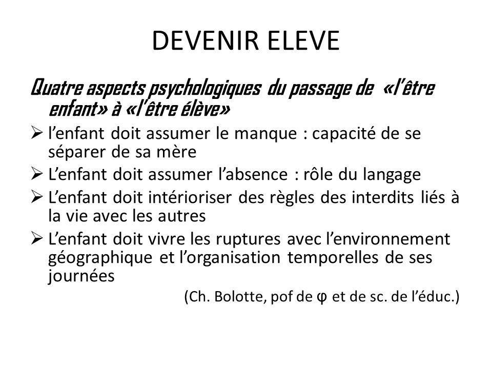 DEVENIR ELEVE Quatre aspects psychologiques du passage de «l'être enfant» à «l'être élève»