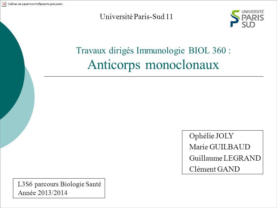 Travaux dirigés Immunologie BIOL 360 : Anticorps monoclonaux