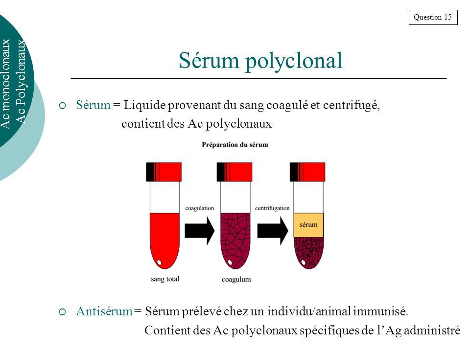 Sérum polyclonal Ac monoclonaux Ac Polyclonaux