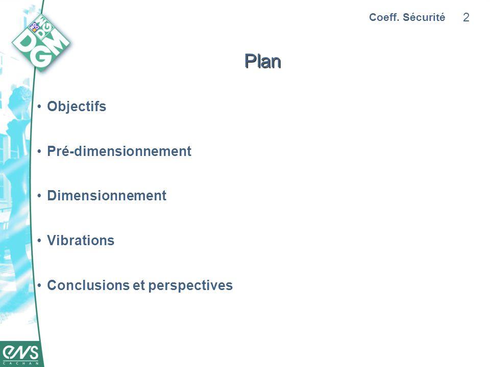 Plan Objectifs Pré-dimensionnement Dimensionnement Vibrations